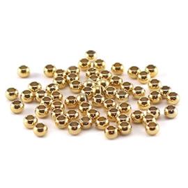 DQ metalen knijpkralen gold plated 3 mm. 10 stuks.