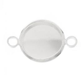 zilverkleurige setting met 2 ogen voor 12 mm cabochon - antiek zilver (nikkelvrij
