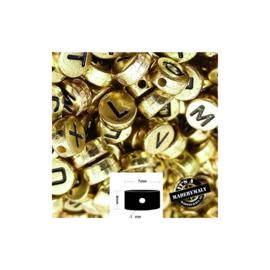 alfabetkralen goud kleurig, vlakke bovenkant, per stuk