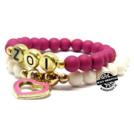 Naamarmband en bedelarmband donkerroze hart armbandenset . (2 armbanden)  Kies zelf je kleuren