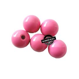 Houten kraal 15 mm rond midden roze