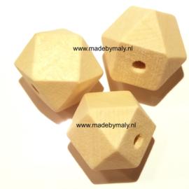 Grenen houten hexagon facet kraal 12 mm. groot, blank, per stuk