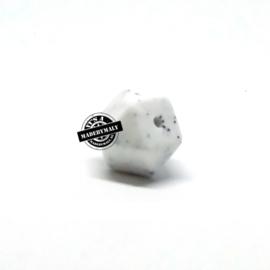 Siliconen hexagon facet kraal 14 mm, wit gespikkeld