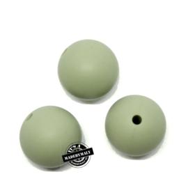 Siliconen kralen 12 mm. groot, kakigroen, per stuk