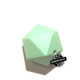 Siliconen hexagon facet kraal 17 mm, mint