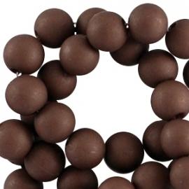 Mat acryl kralen rond 8 mm Dark brown, 30 stuks