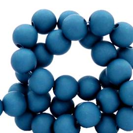 Mat acryl kralen rond 6mm Steel blue, 40 stuks