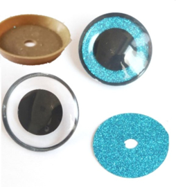1 paar poppen ogen - veiligheids plush ogen 24 mm blauw