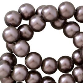 Glasparels rond 6 mm Donker bruin met pearl shine