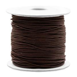 Koord elastiek 0,8 mm. bruin, per meter - elastisch koord