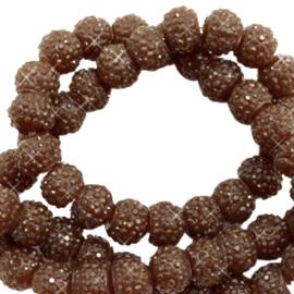 Sparkle sparkling beads 8 mm donkerbruin, 10 stuks