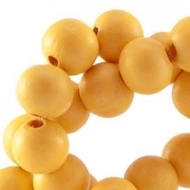 Houten kraal 12 mm Sunflower geel