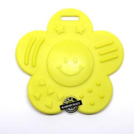 Bijtring bloem lime geel * 68x57mm - Opry