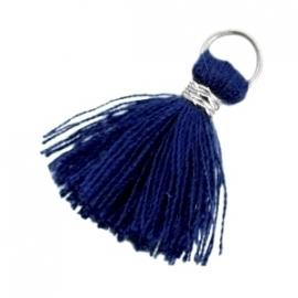 Ibiza style kwastje 2cm Zilver-Donker blauw