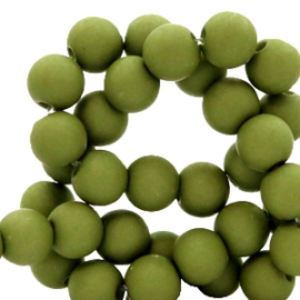 Mat acryl kralen rond 8 mm green moss, 30 stuks