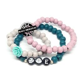 Prachtige naam armband  en uni armbandenset. (3 armbanden) Houten kralen  Kies zelf je kleuren