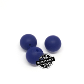 Siliconen kraal 15 mm. groot, donkerblauw, per stuk