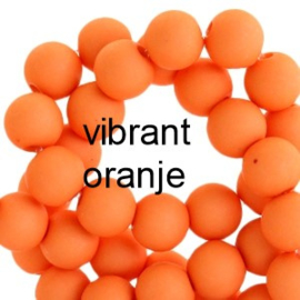 Mat acryl kralen rond 6mm Vibrant oranje, 40 stuks