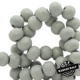 Houten kraal 8 mm rond light grijs