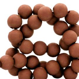 Mat acryl kralen rond 6mm hazelnoot bruin, 40 stuks