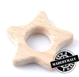 Houten bijtring hout  ster * 5,7 cm.
