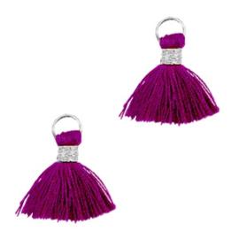 Ibiza style mini kwastje Zilver-Donker aubergine purple