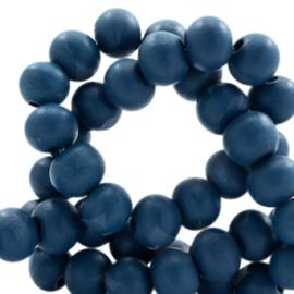 Houten kraal 6 mm rond Denim blauw