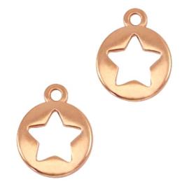 DQ metaal bedel rond met ster Antiek rosé goud (nikkelvrij)