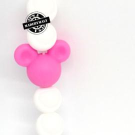 Siliconen mickey mouse kraal donkerroze,  24mm,  per stuk