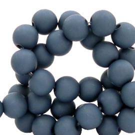 Mat acryl kralen rond 8 mm deep peackock grijs, 30 stuks