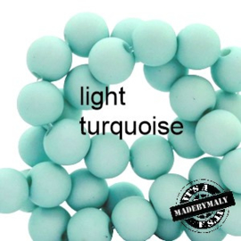 Mat acryl kralen rond 6mm light turquoise, 40 stuks