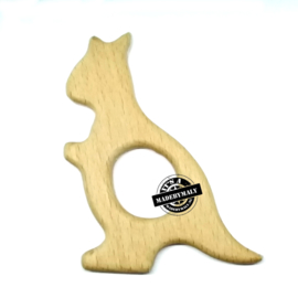Houten bijtring hout  kangaroe beukenhout  * 8x6,2 cm.