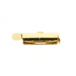 Metalen schuif eindkap  12 mm. goudkleur- miyuki