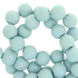 Mat acryl kralen rond 8 mm Haze blue, 30 stuks
