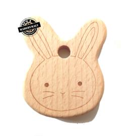 Houten bijtring hout konijn 2  beukenhout * 7x5,4 cm.