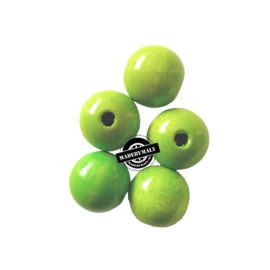 Houten kraal 15 mm rond groen