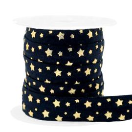 Elastisch Ibiza lint,  zwart met gouden sterren