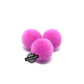 pompom rozeviolet * 15 mm - per 10 stuks