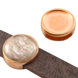 DQ metalen schuiver setting voor 12mm cabochon (voor DQ leer plat 10mm) Rosé goud (nikkelvrij)