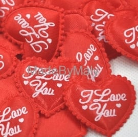 1 hartje applicatie rood met tekst ' I love you'