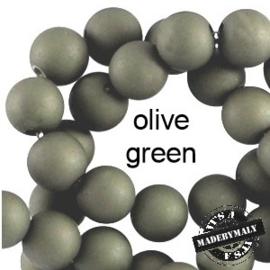 Mat acryl kralen rond 6mm Olive green, 40 stuks