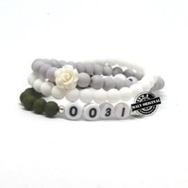 Kinderarmband telefoonnummer, bloem armband  en uni armbandenset (3 armbanden)  Kies zelf je kleuren