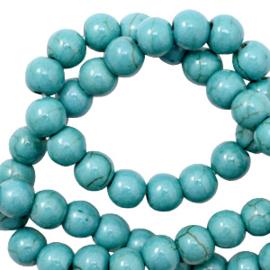 Keramiek kraal rond 4mm aqua turquoise