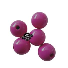 Houten kraal 15 mm rond fuchsia roze
