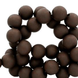 Mat acryl kralen rond 6mm Dark brown, 40 stuks