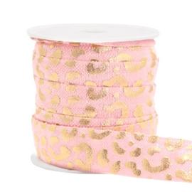 Elastisch lint, licht roze met luipaard print