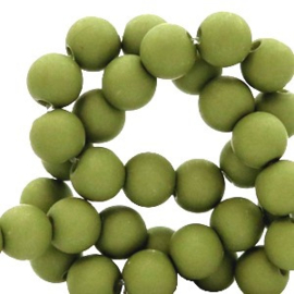 Mat acryl kralen rond 8 mm  green, 30 stuks