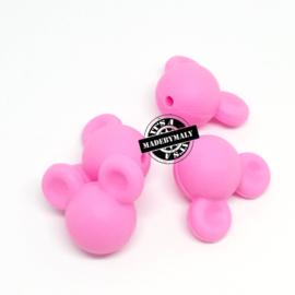 Siliconen mickey mouse kraal roze,  24mm,  per stuk