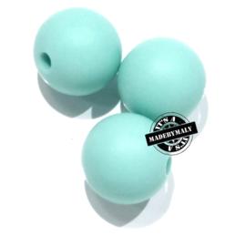 Siliconen kralen 12 mm. groot, zeeblauw, per stuk