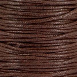 Waxkoord  chocolate bruin 2 mm. dik, per meter
